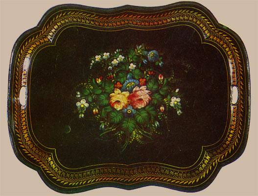 Поднос фигурный - Букет с розами