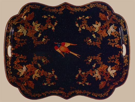 Поднос фигурный - Птичка и веточки