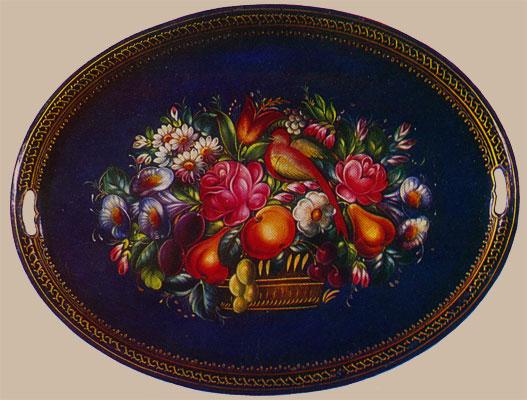 Поднос овальный - Корзина с цветами, фруктами и птицей